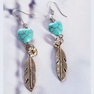 Silverplated Feather and Heart Dangle Earrings